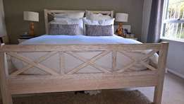 Light Wood Bed Frame, Queen Size Extra-Length,