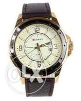 Leather Strap Watch for Men - Gold/Brown