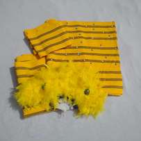 Complete Aso Oke Set With Matching Bridal Hand-Fan And Muffler/Cap