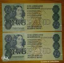 x2 Nice uncirculated 1980's S.A R2 n0tes