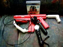 Ps3 move controls with move gun, psEye and a game
