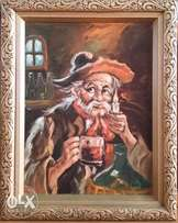 Oil Painting of Old Man by Candle Light.. .