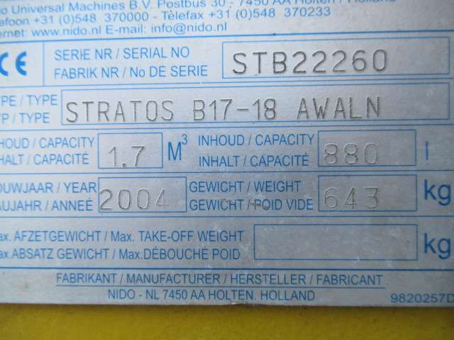 Nido Stratos B17-18 AWALN 1,7 m3 + 880 L. Getrokken Zoutstrooier - 2004 - image 10