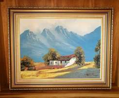 Original Oil Painting of Farmers Cottage by SA artist Helena Mommen.