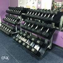Fixed rubber dumbbell sets