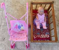 "Small ""Baby Born"" Doll plus Potty, Wooden crib and pushchair!"