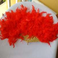 ''Allure Intense'' Bridal Hand-Fan (Red Feathers)