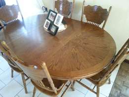 Oak Table and 6 Chairs with Coffee Table Incl.