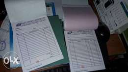 Receipt books,,Delivery notes,Cash books,Invoices.