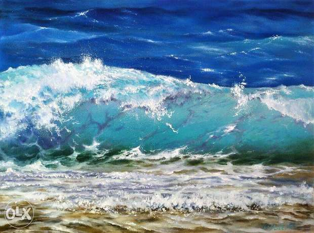 Sparkling wave, framed oil painting, art for your home