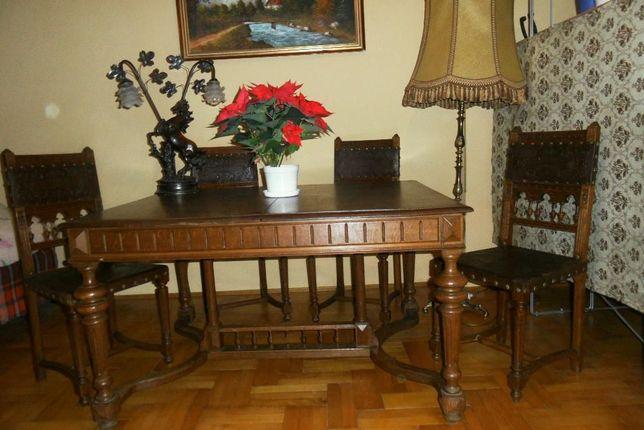 Stylowy Zabytkowy Dębowy Stół I Krzesła Do Salonu Gabinetu Kraków