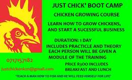 chicken growing boot camp R300 includes breakfast/ lunch