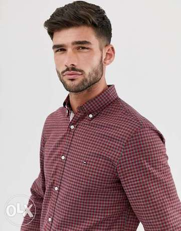 Brand New Tommy Hilfiger slim fit gingham check shirt in red Xl