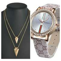 Livera 2 layers gold chain & Womage Rhinestone watch.