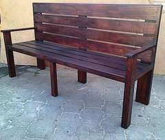 Patio bench Farmhouse series 1800 with backrest - Stained