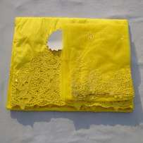 Yellow Embroidered And Beaded Indian Lace George With Blouse - 7 Yards