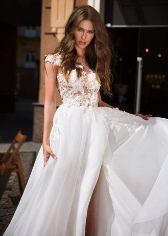 8e60f6916b NOWA suknia ślubna koronka kwiaty 3D gołe plecy rozporek TANIO Głogów -  image 1