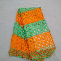 2 Colour Beaded Sample Lace - Orange & Mint Green - 4 Yards