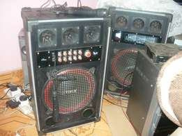 2 yinco amplified speakers,mics 18k