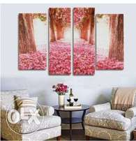 4Pcs Cherry Blossom Abstract Canvas Art Oil Painting