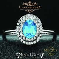 Italian Design Genuine Natural Blue Topaz Stone Fashion Party Ring