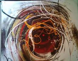 brown,black & orange abstract painting