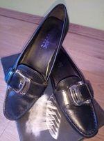 f0db5cf74c927c Черные кожаные туфли Geox/Джеокс на удобном каблуке 37р.