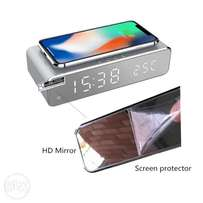 Electric LED alarm clock with phone wireless charger Desktop