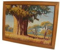 JH RABE-Near Makoppa 1975-Tree where Paul Kruger shot a lion-oil