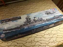 Battleship model with paints and airbrush