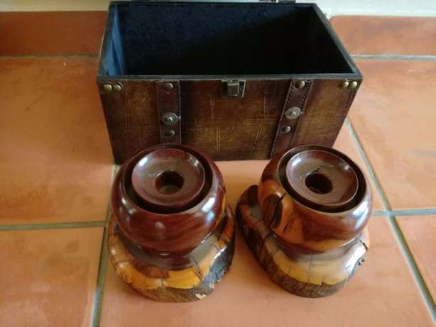 2 Heavy Wooden Candle Holders (Very Sturdy) Great Condition In Holder! Kempton Park - image 7