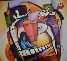 Instruments abstract oil painting