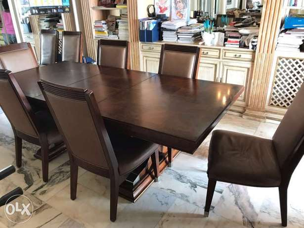 dining room table and 8 seats