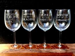 Game of Thrones Hand Made Wine Glasses Set