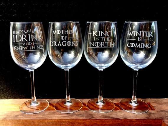 Game of Thrones Hand Made Wine Glasses Set Mountain View - image 1