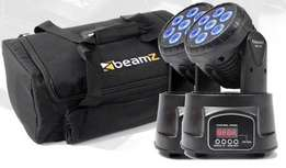 2X beamZ Mini Moving Head Wash 7x10W RGBW 13ch DMX Plus AC-135 Carry C
