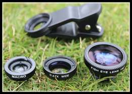 Universal 3-in-1 Clip-On Wide Angle Fisheye Macro Lens Set iPhone Andr