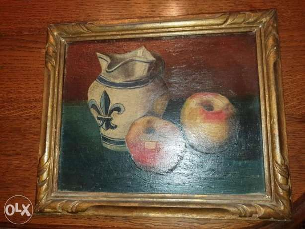 Still life, oil on wood panel, french artist Villefroy , 19th century.