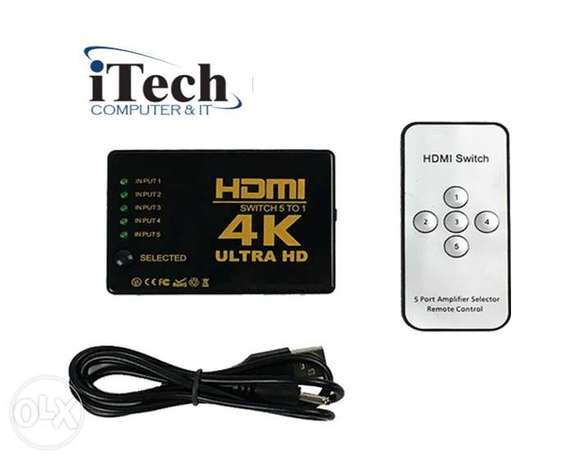 Ultra 4k 5x1 HDMI switch 5 in 1 with IR RF remote