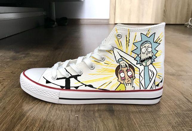 Trampki Rick and Morty białe Converse malowane buty conversy