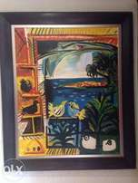 LARGE Framed Pablo Picasso Reproduction painting The Pigeons 1957