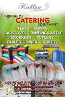 Chairs, Tables, Tent, Jumpings Castle, Gas Stove, Heaters for Hire
