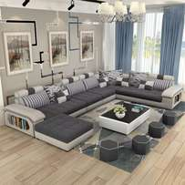 Deep sofa set with a floating table