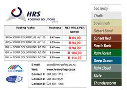 IBR, Corrugated ZINCALUME & COLORBOND Roof Sheets deliver to Cape Town