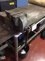 Steel Table (Work Bench) with Vice and Bench Grinder for Sale.