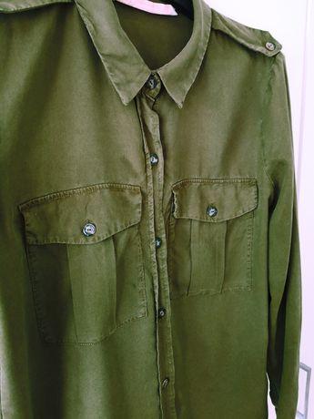 Zara koszula zielona oliwkowa khali militarna w militarnym