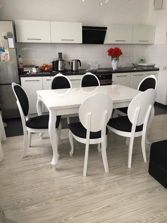 Piękny Zestaw Sofia Biały Połysk Stół I Krzesła Do Salonu