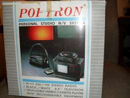 "POPTRON 4.5"" B/W TV and Casette Player"