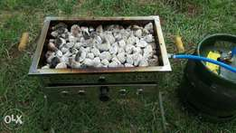 Flame grill or rock grill with our gas and lava rocks grill
