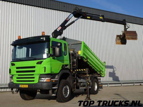 Scania P340 Hiab 11 TM Kraan, Crane, Kran, 2 zijdige Kipper, Tipper - 2008
